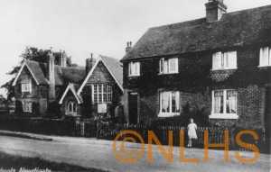 Newdigate School and Dean House Farm Cottages - the little girl is Vi Buckman (later Higgs)